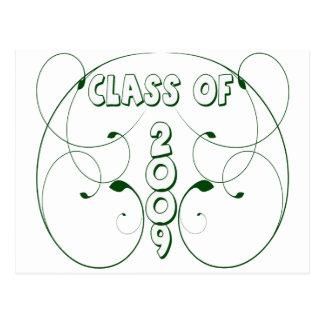 CLASS OF 2009 Leaf Print Design Postcard