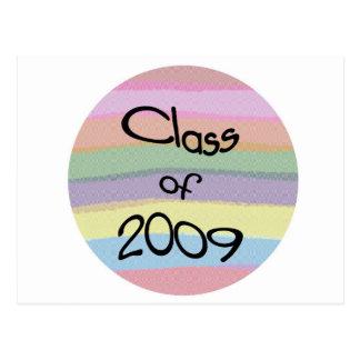 Class of 2009 Pastel Twist Round H Postcard
