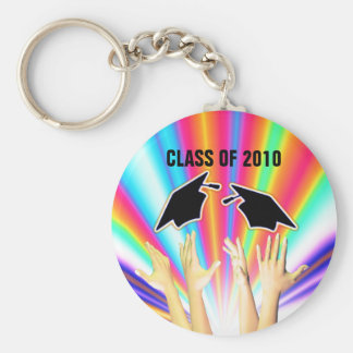 Class of 2010 Graduation Caps and Hands Basic Round Button Keychain