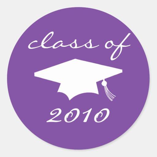 Class Of 2010 Label (Purple Graduation Cap) Round Stickers