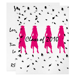 Class of 2010 Pink Grad Silhouettes with Tassle Card