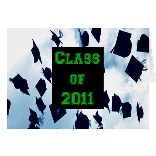 Class of 2011 Cap Toss Grad Green Thank You Note Stationery Note Card