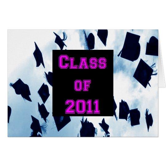 Class of 2011 Cap Toss Grad Pink Thank You Note Card