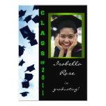 "Class of 2011 Cap Toss Green Grad Announcement 5"" X 7"" Invitation Card"
