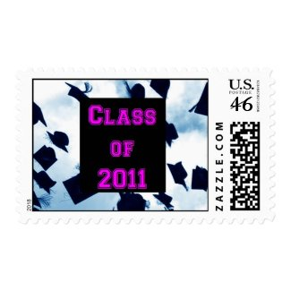 Class of 2011 Cap Toss Pink Grad Stamp stamp