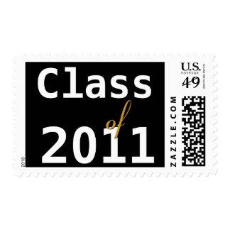 Class of 2011 Graduation Black White Gold Postage