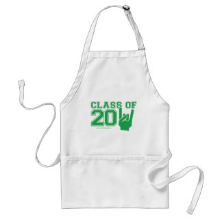 Class of 2011 graduation green and white adult apron