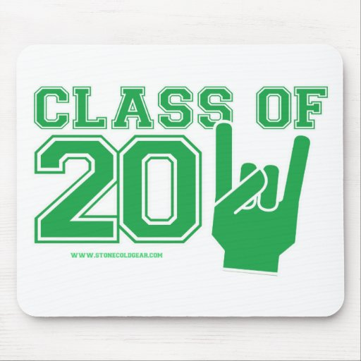 Class of 2011 graduation green and white mousepads