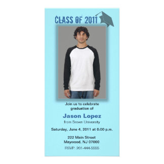 Class of 2011 Graduation Photo Card Blue Shadow