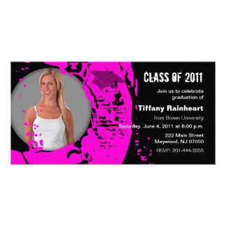 Class of 2011 Graduation Photo Card Neon Pink
