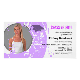 Class of 2011 Graduation Photo Card Neon Purple