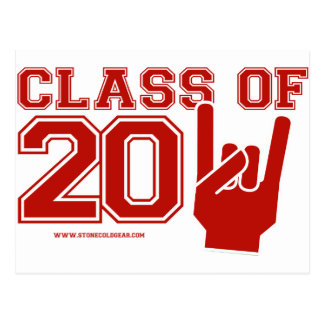 Class of 2011 graduation red and white postcard