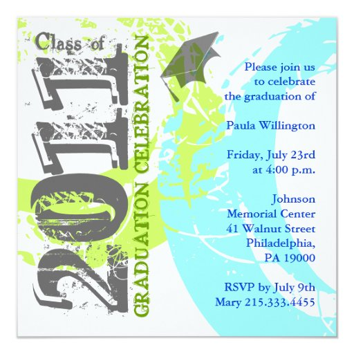 """Class of 2011 Invitation ABGQ213 Blue Green Paint 5.25"""" Square Invitation Card"""