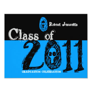 Class of 2011 Invitation SKB205 Skull Blue