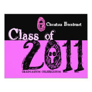 Class of 2011 Invitation SKP206 Skull Pink