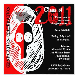 Class of 2011 Invitation SKRQ208 Skull Red