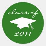 Class Of 2011 Label (Green Graduation Cap) Round Stickers