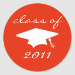 Class Of 2011 Label (Red Graduation Cap) Round Sticker