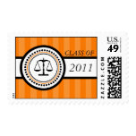 Class Of 2011 Law School Graduation Stripes Orange Stamps
