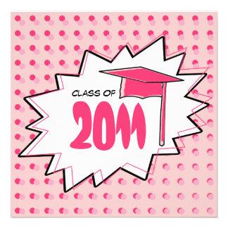 Class of 2011 Pink Pop Art Graduation Invitation