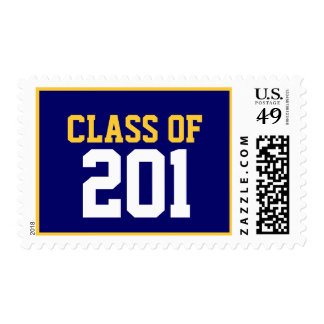 Class of  2011 Postage Stamps Navy Blue Yellow