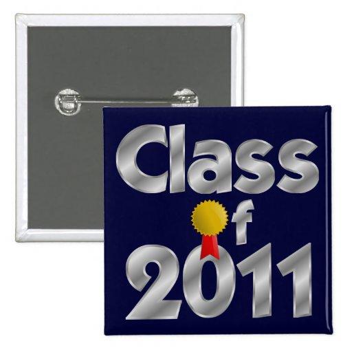 Class of 2011 Silver Square Button