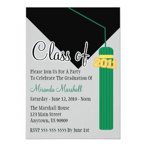 Class Of 2011 Tassel Graduation Invitation (Green)