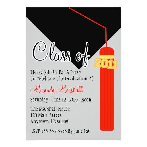 Class Of 2011 Tassel Graduation Invitation (Red)