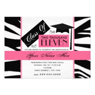 Class of 2011 Zebra Print Pink Graduation Invite