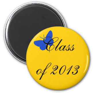 Class of 2012 - Blue and Gold Butterfly 2 Inch Round Magnet