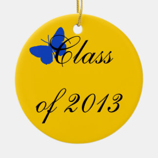 Class of 2012 - Blue and Gold Butterfly Ceramic Ornament