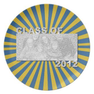 Class of 2012 Cut Out Photo Frame -Blue Gold Burst Dinner Plates