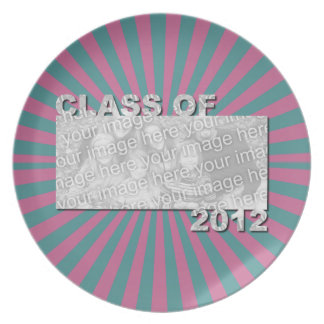 Class of 2012 Cut Out Photo Frame -Pink Teal Burst Plate