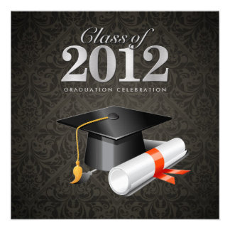 Class of 2012 Damask Graduation Invitation