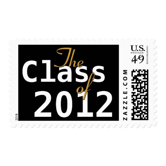 Class of 2012 Graduation Black White Gold Postage