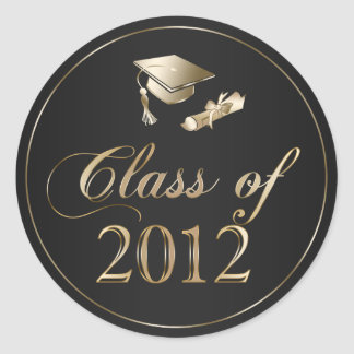 Class of 2012 Graduation Cap & Diploma Seals Classic Round Sticker