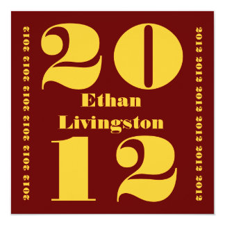 Class of 2012 Graduation Cinnamon Red Gold Square Card