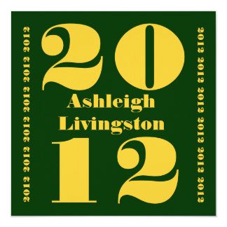 Class of 2012 Graduation Green Gold Square Card