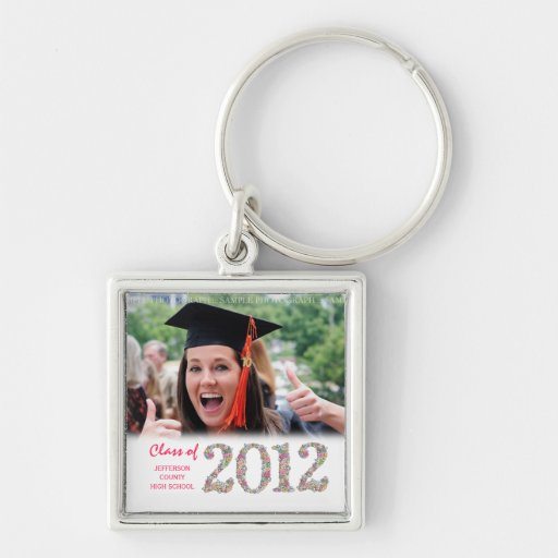 Class of 2012 Graduation Photo Metal Keyring Silver-Colored Square Keychain