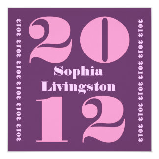 Class of 2012 Graduation Purple and Pink Square Card