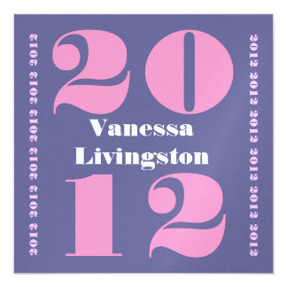 Class of 2012 Graduation Purple Pink Square Ver. 2 Card