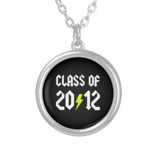 Class Of 2012 Graduation Yellow Bolt Round Pendant Necklace