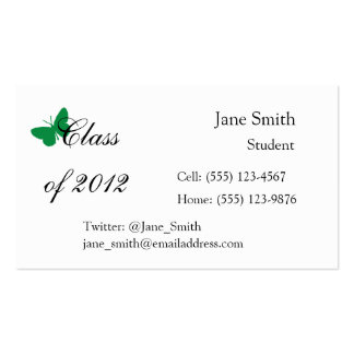 Class of 2012 - Green and White Butterfly Business Card Template