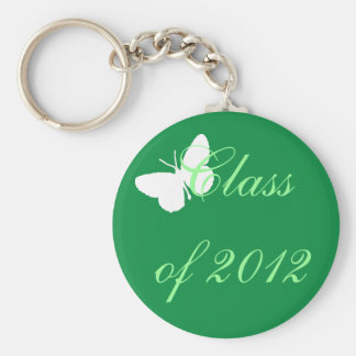 Class of 2012 - Green and White Butterfly Keychain