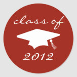 Class Of 2012 Label (Maroon Graduation Cap) Round Stickers