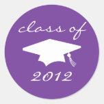 Class Of 2012 Label (Purple Graduation Cap) Round Sticker