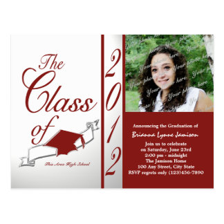 Class of 2012 Photo invitation red Post Cards
