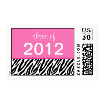 Class of 2012 Pink and Black Zebra Graduation Postage