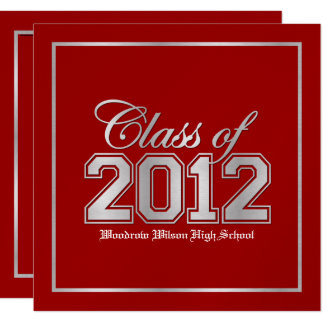Class of 2012 Premium Red / Silver Graduation Card