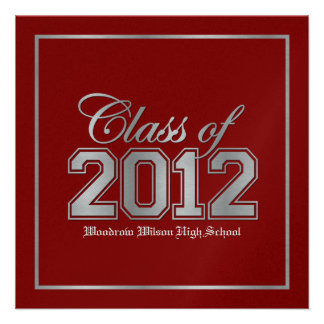 Class of 2012 Premium Red Silver Graduation Custom Announcements